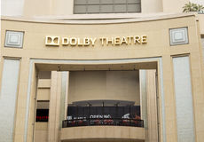 Dolby Theatre. HOLLYWOOD, CALIFORNIA - MAY 22, 2015: Facade of the Dolby Theatre where every year the Film Academy Awards, Oscar, take place recognizing the best stock image