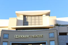Dolby Theatre. View of the front of the Dolby Theatre from Hollywood boulevard in California royalty free stock images