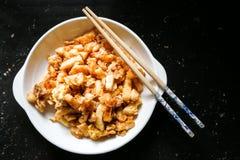 Dolce alle carote o Cai Tau Kueh fritto, squisitezza popolare della Malesia fotografia stock libera da diritti
