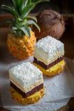 Dolce bianco casalingo con i biscotti dell'ananas, della noce di cocco e del cioccolato immagini stock