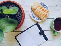 dolce casalingo, una tazza di tè, un cuscinetto e una pianta verde sui bordi bianchi Immagini Stock