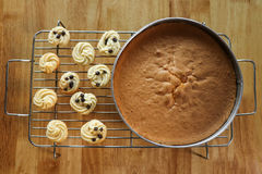 Dolce chiffon con i biscotti sulla griglia sulla tavola di legno Fotografia Stock Libera da Diritti