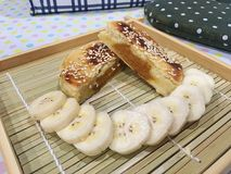 Dolce cinese della zucca con le banane Fotografie Stock