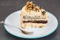 Dolce con i semi di papavero, cioccolato, dadi del biscotto Immagine Stock