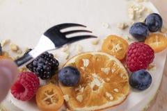 Dolce dai prodotti biologici senza cottura con le bacche ed i frutti immagine stock