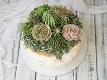 Dolce decorato con i succulenti cremosi su un fondo di legno con tessuto bianco Copi lo spazio, fine su, vista superiore immagine stock libera da diritti