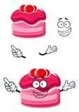Dolce del fumetto con salsa fruttata ed i mirtilli rossi Fotografie Stock
