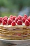 Dolce del pancake con i lamponi Fotografia Stock Libera da Diritti