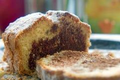 Dolce dolce del pane della spugna, affettato, con cacao fotografia stock libera da diritti