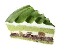 Dolce del tè verde e torta di formaggio del brownie Fotografia Stock