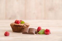 Dolce delizioso della lava del cioccolato con i pezzi freschi dei lamponi, della menta e del cioccolato fotografia stock libera da diritti
