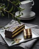 Dolce delizioso di mozart del cioccolato con pistachious sul fondo scuro del piatto di mattina della finestra quadrata della luce fotografia stock libera da diritti