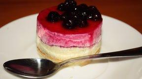 Dolce della bacca con gelatina ed il cucchiaio Fotografia Stock Libera da Diritti