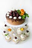 Dolce della ciliegia del cioccolato con le rose ed i bigné Fotografie Stock Libere da Diritti