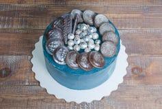 Dolce della galassia del formaggio cremoso con i biscotti e il marmelade del cioccolato Fotografia Stock Libera da Diritti