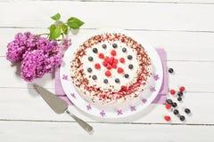 dolce della Lampone-crema con i lamponi ed i mirtilli Immagine Stock
