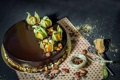 Dolce della mousse di cioccolato di compleanno Fotografia Stock