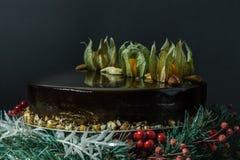 Dolce della mousse di cioccolato di festa Fotografia Stock