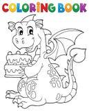 Dolce 1 della tenuta del drago del libro da colorare royalty illustrazione gratis