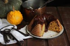 Dolce della zucca e del cioccolato Fotografie Stock