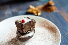Dolce di Brown con il mirtillo rosso sul piatto bianco Fotografia Stock Libera da Diritti