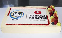 Dolce di celebrazione di Turkish Airlines Fotografie Stock