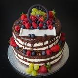 Dolce di cioccolato con frutta fresca immagini stock