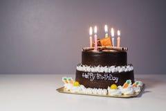 Dolce di cioccolato con la candela della luce di compleanno immagini stock libere da diritti