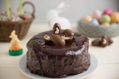 Dolce di cioccolato con le uova di cioccolato Fotografia Stock