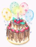 Dolce di cioccolato dell'acquerello con le bacche, la candela ed i palloni Immagine Stock