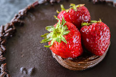 Dolce di cioccolato di Straberry Immagini Stock Libere da Diritti