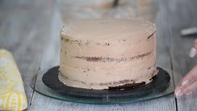 Dolce di cioccolato Il confettiere copre la crema cremosa del dolce di cioccolato E Borsa della pasticceria con crema stock footage
