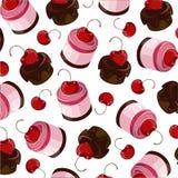 Dolce di cioccolato nella glassa del cioccolato con il soufflè della ciliegia Fotografia Stock