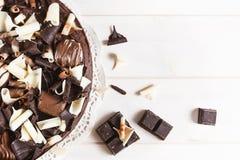 Dolce di cioccolato triplo delizioso Fotografia Stock Libera da Diritti