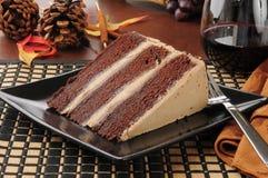 Dolce di expresso del cioccolato con vino rosso Fotografie Stock