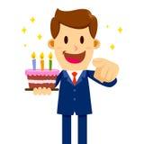 Dolce di Holding Birthday dell'uomo d'affari Immagine Stock