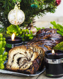 Dolce di Krantz del cioccolato di Natale Fotografie Stock