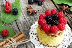 Dolce dolce con i frutti della foresta Fotografie Stock Libere da Diritti
