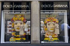 Dolce e Gabbana window in Milan Royalty Free Stock Photography