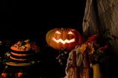 Dolce e zucca di Helloweens Fotografia Stock Libera da Diritti