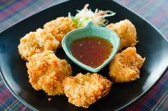 Dolce fritto nel grasso bollente del gamberetto (Tod Mun Kung) Fotografia Stock Libera da Diritti