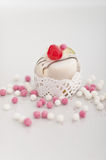 Dolce italiano di cassata con le palle dello zucchero Fotografia Stock Libera da Diritti