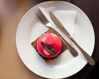 Dolce ?Lampone-pistacchio con cioccolato ? fotografia stock libera da diritti