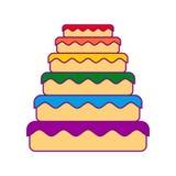 Dolce LGBT Grande arcobaleno di colore della torta Gay dell'alimento Carne festiva illustrazione vettoriale