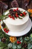 Dolce nudo crema bianco casalingo decorato con crema bianca, cono Fotografia Stock Libera da Diritti