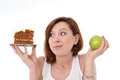 Dolce o Apple Choice del ciarpame del dessert attraente della donna Immagine Stock Libera da Diritti