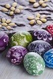 Dolce polacco tradizionale delle uova di Pasqua e di cioccolato di pasqua del mazurek Fotografia Stock Libera da Diritti
