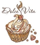 Dolce Vita. Delicious cake with cream and a delicious air of cherry. Dolce Vita Stock Photography