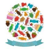 Dolce Vita Colección de caramelos dulces coloridos lindos Imágenes de archivo libres de regalías