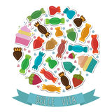 Dolce vita. Collection of cute colorful sweet candies. Vector illustration Royalty Free Stock Images